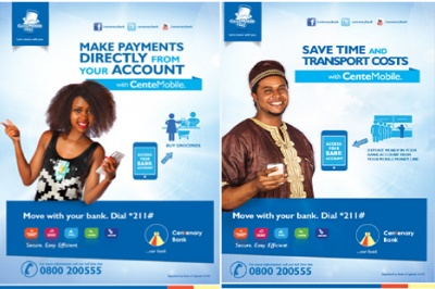 Two Centenary Bank advertisements that promote financial services to low income customers, designed through customer research to target specific customer segments in low-income areas